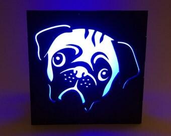 Pug Light Box, Wood Lantern, Pug Lantern, Candle Box, LED Lantern, Dog Lantern, Pug Lamp, Home Decor, Light Box, Pug Nightlight, Pug Decor