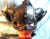 RESERVED for JERRY JOHNSON/ Black Lambskin Leather Half Mask with Rams Horns/ Ponytail Tube