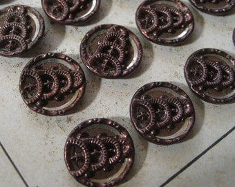 Set of 4 Small  ANTIQUE Victorian Burgundy Tint Metal Buttons