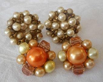 2 Pair of Vintage Beaded Costume Jewelry Clip & Screw Back Earrings