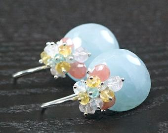 Blue Aquamarine cabochon, Rhodochrosite, Yellow Opal, Afghan pink Tourmaline, Blue Topaz, 925 Silver hooks ... Earrings