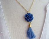 Blue Tassel Necklace, Bohemian, Blue Flower Necklace, Gold Necklace, Vintage Style Necklace, Gardendiva