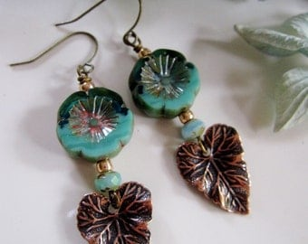 Brass Leaf Earrings, Turquoise Flower Earrings, Garden Jewelry, Botanical Earrings, Bohemian, Vintage style, Gardendiva