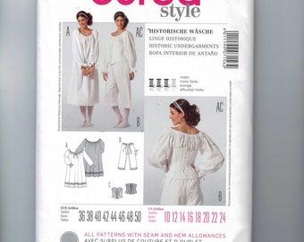 Misses Sewing Pattern Burda 7156 Misses Historical Undergarments Costume Corset Pantaloons Shift Chemise Size 10-24 UNCUT