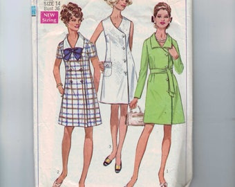 1960s Vintage Sewing Pattern Simplicity 8142 Misses Side Wrap Buttoned Dress Size 14 Bust 36 60s 1969