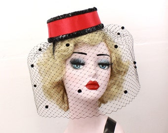 Red Pillbox Hat with Dotted Veil, Burlesque Costume Headpiece, Red Hat, Black and Red, Full Veil, Theatrical Costuming