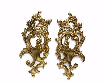 Pair of Ornate Gold Syroco Wood Candle Sconces