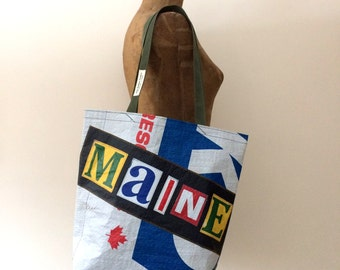 Recycled M A I N E Lumber Wrap Tote Bag, handmade in Maine, unisex gift