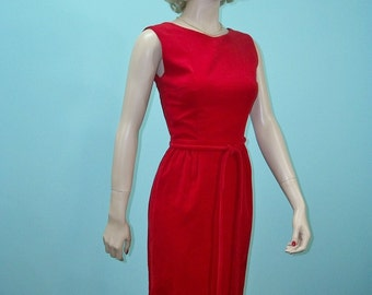 1960s Sheath Dress . Red Velveteen Dress . Bow Trimmed Open Back . XS S