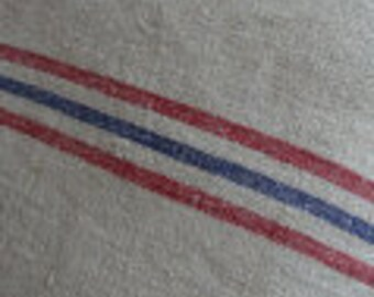 Vintage Grainsack/Handmade Pillow/Down & Feather/French Red Blue Stripes/Cottage Ticking/Shabby Chic