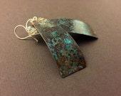 Curved Copper Earrings with Patina - Long Copper Earrings - Artisan Earrings - Handmade Forged Metal Earrings - Abstract Colorful Earrings