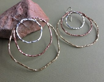 Mixed Metal Organic Hammered Circle Dangle Earrings - Handmade Large Shiny Silver Copper Brass Earrings