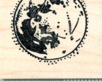 Full Moon Rubber Stamp E31212 Wood Mounted
