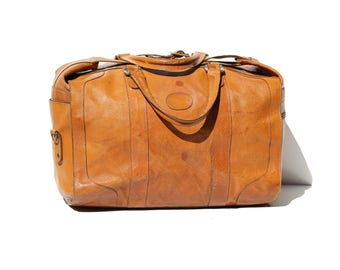 Vintage Sienna Clay Large Brown Leather Travel Bag