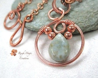 Green Ocean Jasper Gemstone & Copper Pendant Necklace, Wire Wrapped Stone, Circle Pendant. Rustic Boho Gift for Women, Optional Chain N303G