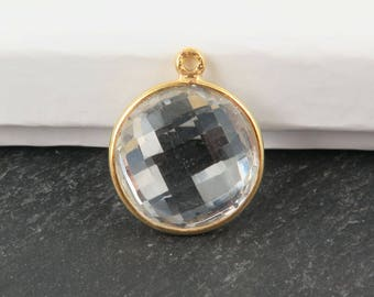 Gold Vermeil Crystal Quartz Round Pendant 20mm (CG9475)