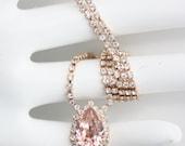 Blush Crystal Necklace Rose Gold Teardrop Necklace Vintage Rose Crystal Bridal Necklace Pink Bridal Necklace Wedding Jewelry DROP Z15
