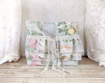 Shabby Cottage Chic Paris Themed and Butterfly Vintage Lace and Ruffles Tote Bag