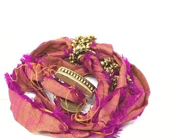 Fabric Bracelet, Wrap Bracelet, Summer bracelet, Gift for Her, Boho Jewelry, Bohemian Bracelet, Boho Bracelet, Silk Bracelet