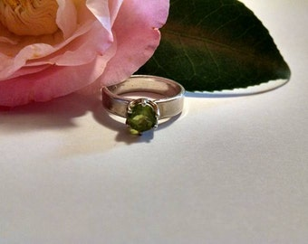 Green Peridot Ring August Birthstone Thick Silver Band Size 7 Engagement Solitaire Round  Statement Beautiful Gift for Her