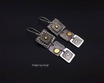 Attention Grabbers  Silver and 24K Gold Three Square LONG Earrings - LIMITED EDITION