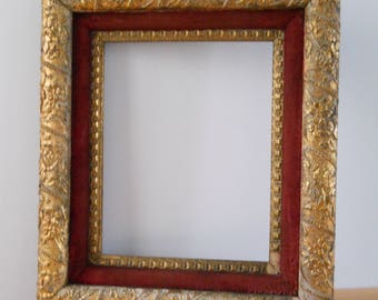 "Vintage Gesso Plaster Frame • Plaster on Wood Frame Double with Red Velvet • Gold Tone 8"" x 10"""