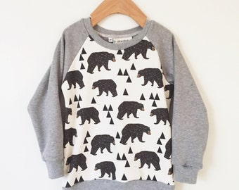 Baby boy clothes, Organic bear sweatshirt,  organic toddler clothing, kids clothing, boy clothes, baby sweatshirt, baby clothes