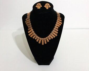 vintage Matisse Renoir copper choker set. bib necklace. copper choker. signed choker necklace. copper necklace.  modernist necklace