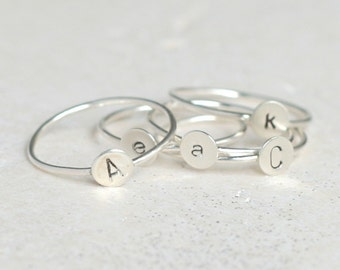 personalized initial ring. sterling silver personalized jewelry. silver initial ring. personalized ring. gift for her. gift under 30.