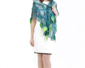Silk scarf, Felt scarf, Felted scarf, handmade silk scarf, Hand painted scarf, womens scarf, ladies shawl, Kate Ramsey, artisan wrap