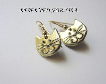 RESERVED for LISA Cat Earrings in gold