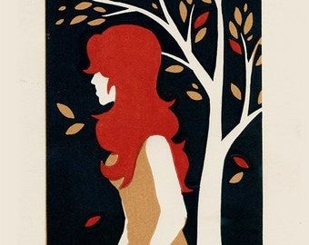 AUTUMN - Red Haired Girl by a Tree - Lino Block Print