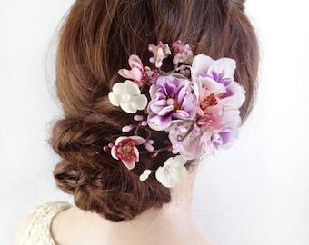 bridal hair piece, bridal headpiece, purple hair clip, floral headpiece, plum flower hair piece, wedding headpiece, lavender accessory