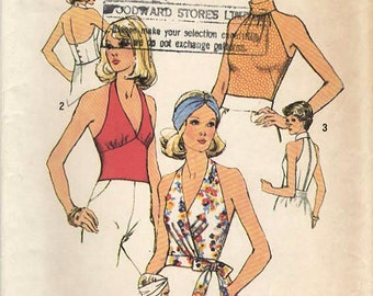 1970s Simplicity 6358 UNCUT Vintage Sewing Pattern Misses Halter Top, Surplice Halter Top, Fitted Top Size 10 Bust 32-1/2