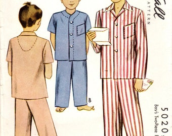 1940s McCall 5020 Vintage Sewing Pattern Boys Long Pajamas, Sleepwear, Sleep Pants, Sleep Shirt Size 6