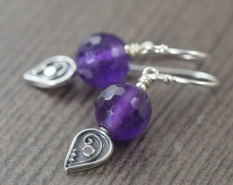 Valentine's Day gift February birthstone Purple earrings of Amethyst gifts for her