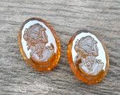 Vintage Glass Cameos - West German Stones, Grecian Woman's  Profile Available in 18x25 mm OR 13x18 mm Topaz Amber AB  (2 pc)