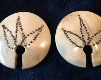 Naga Conch Chaka Tribal Shell Ear Ornaments Pendants India Burma Nepal