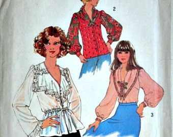 Vintage 70's Simplicity 7766 Sewing Pattern, Misses' Blouses, Size 8, 31.5 Bust, Uncut FF, Boho 1970's Fashion