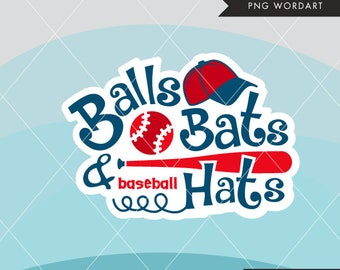 Baseball word Art lettering. Balls, bats and baseball hats, monogram, embroidery, apparel, cutting, stickers, applique, printables, sports
