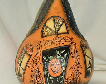 Halloween Gourd Witch House - Hand Painted Gourd
