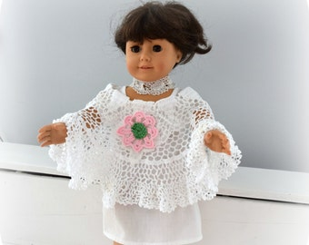18 Inch Doll Shawl or Poncho made from Vintage Crochet and Antique Lace Lots of Ruffles