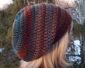 Brown and Teal Slouchy Beanie, Womens Crochet Hat, Oversized Slouch Beanie, Hipster Hat, Slouch Hat, Baggy Beanie, Boho Slouchy Hat