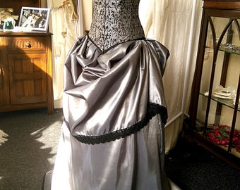SAMPLE SALE - Alexis - Silver and Black steel boned bridal gown