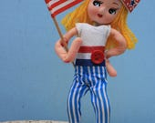 Vintage Fourth of July Patriotic Pose Doll, Sassy Pose