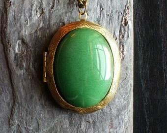 Green aventurine locket, gemstone locket necklace, antique brass locket, large locket, long necklace, holiday gift ideas, unique gift