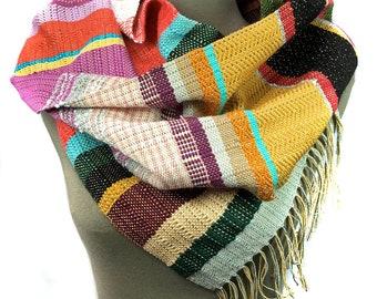 Karina   Modern Woven Greenery Scarf   Handwoven Fashion   Woven pidge pidge Scarf   Striped Textile Gifts   Pantone Weaving Fashion   H73