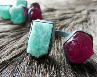 Raw ruby ring | Ruby crystal ring | Amazonite ring | Multistone ring | Crystal ring | Ruby statement ring | Cocktail ring | Ruby jewelry