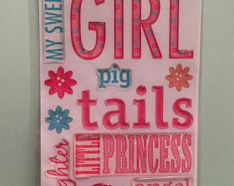 Dimensional Stickers, Scrapbooking,  Epoxy Jelly Stickers, EK Success, 3D Embellishment, Card, Tag, Crafting Supply, Girl Theme, Script