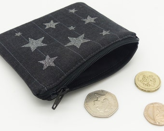 Zip purse, coin purse, silver stars zip pouch. Change purse. Card wallet. Oyster card wallet. Travel card holder.Credit card.